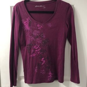 Eddie Bauer V-neck deep purple Long sleeve T-shirt